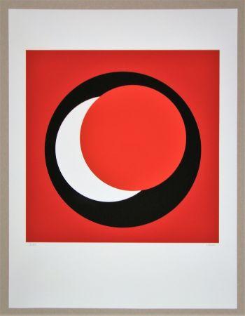 Siebdruck Claisse - Cercle rouge sur fond rouge foncé