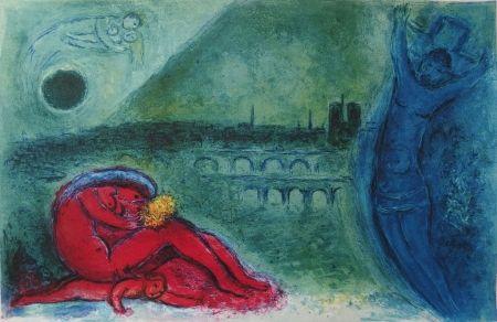 Lithographie Chagall - Chagall- Quai de la Tournelle