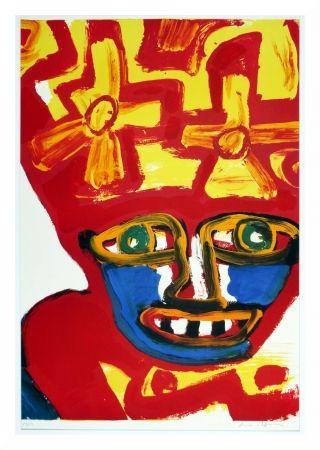 Lithographie Lindstrom - Chapeau rouge et jaune