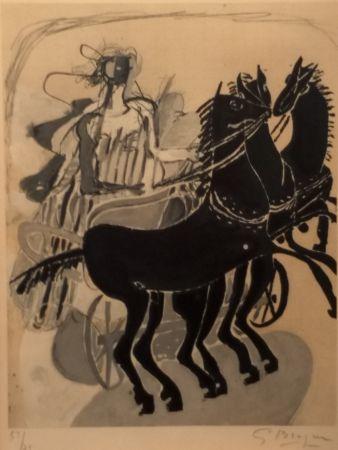 Lithographie Braque - CHAR AUX CHEVAUX NOIR