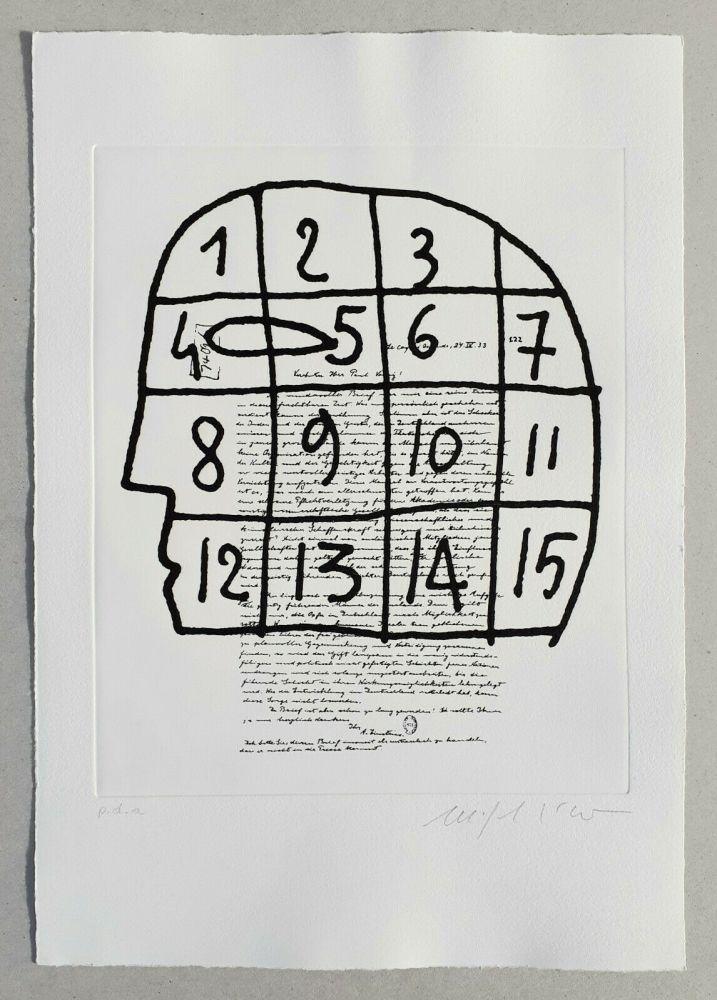 Linolschnitt Paladino - Cher monsieur Einstein (tav. 3)
