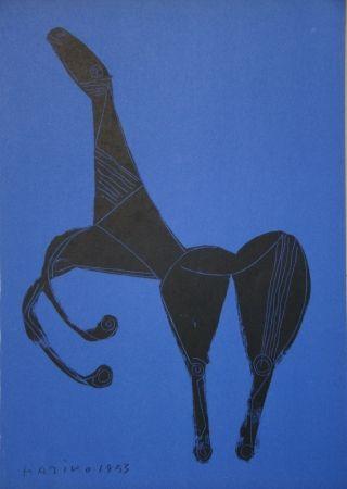 Lithographie Marini - Cheval sur fond bleue