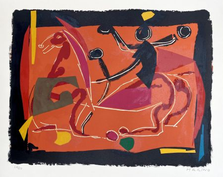 Lithographie Marini - Chevaux et Cavaliers III