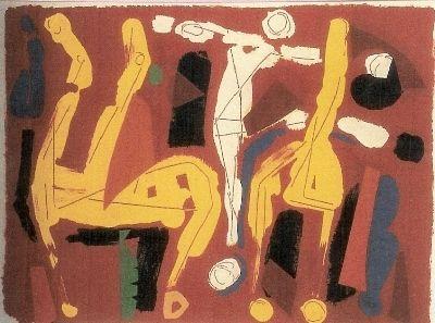 Lithographie Marini - Chevaux et Cavaliers V