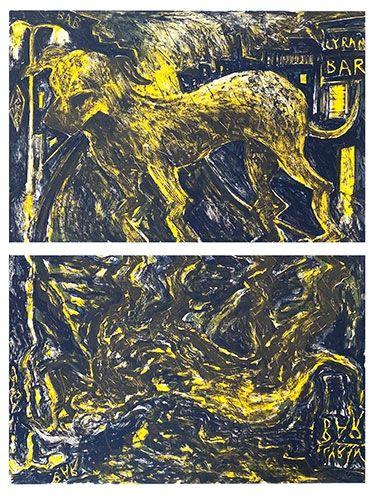 Lithographie Barcelo - Chien sous la pluie