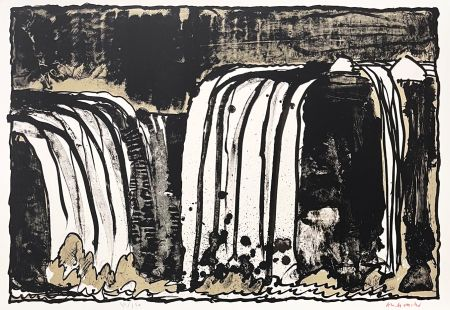 Lithographie Alechinsky - Chute blanche