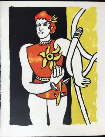 Lithographie Leger - Cirque : Jongleuse au Tournesol. 1950
