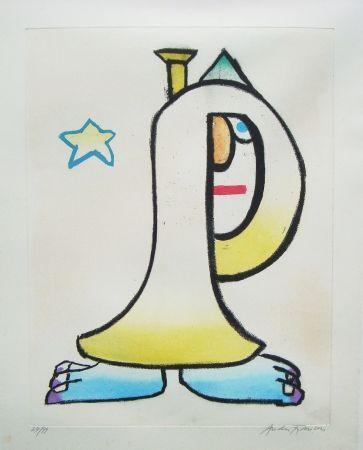 Radierung Und Aquatinta François - Clown à la trompette