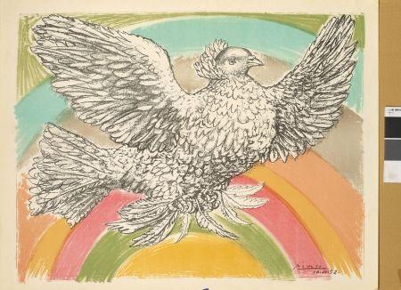 Lithographie Picasso - Colombe à l'arc-en-ciel