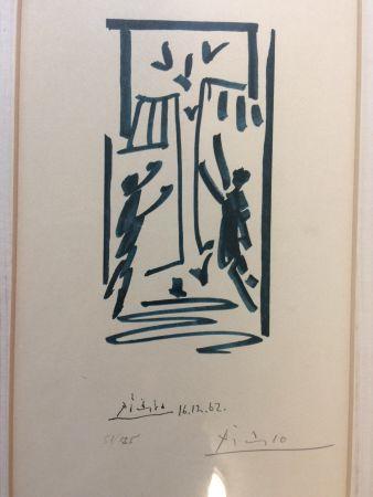 Lithographie Picasso - Colombes et prisonniers (pour les exiles espagnols)
