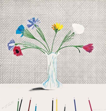 Lithographie Hockney - Coloured Flowers Made Of Paper And Ink