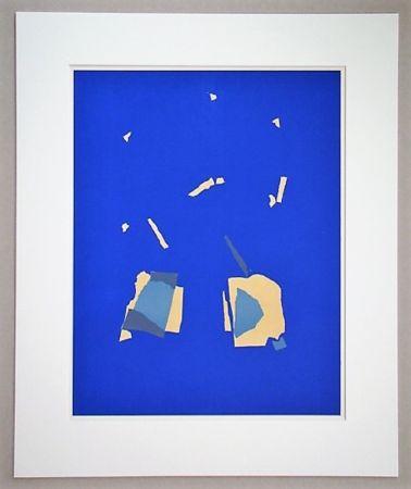 Lithographie De Stael - Comosition Sur Fond Bleu