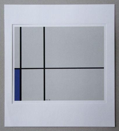 Siebdruck Mondrian - Compositie met blauw - 1938