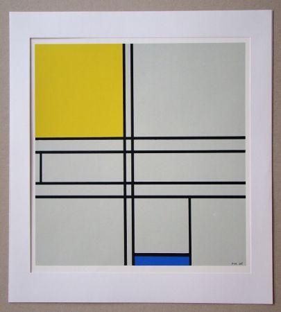 Siebdruck Mondrian - Compositie met blauw en geel - 1935