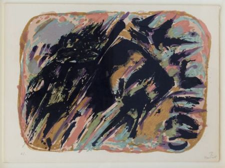 Lithographie Manessier - Composition abstraite