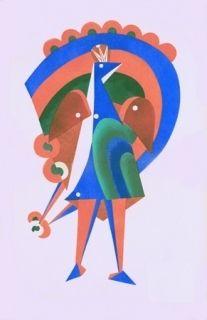 Lithographie Larionov - Composition au paon