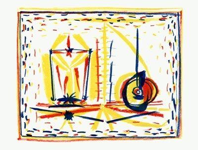 Lithographie Picasso - Composition au verre et à la pomme