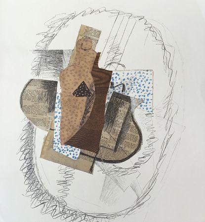 Lithographie Braque (After) - Composition au violon et journal découpé