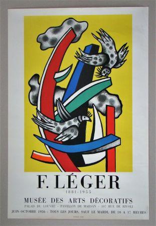 Plakat Leger - Composition aux deux oiseaux sur fond jaune, 1955