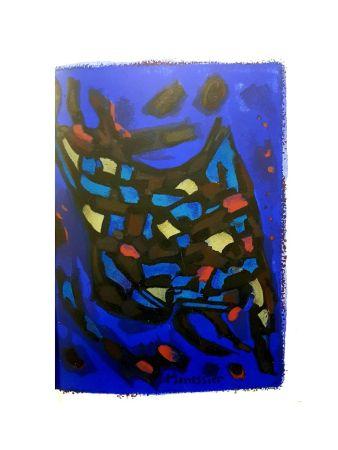 Lithographie Manessier - Composition Bleue Abstraite