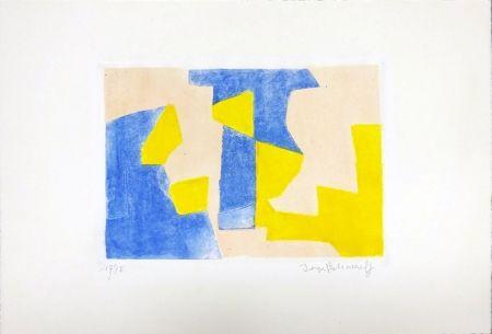 Radierung Und Aquatinta Poliakoff - Composition Bleue rose et jaune