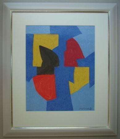 Lithographie Poliakoff - Composition bleue, rouge et jaune