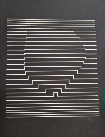 Siebdruck Vasarely - COMPOSITION CINETIQUE NOIRE ET BLANCHE