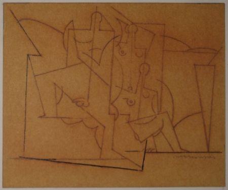 Monotypie Marcoussis - Composition cubiste / Kubistische Komposition (Mann und zwei Frauen).
