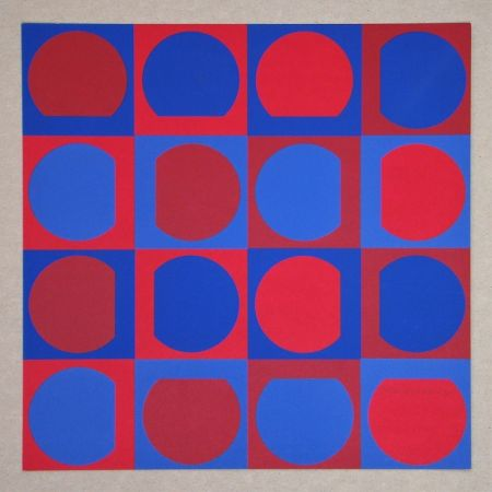 Siebdruck Vasarely - Composition Folklore Planétaire