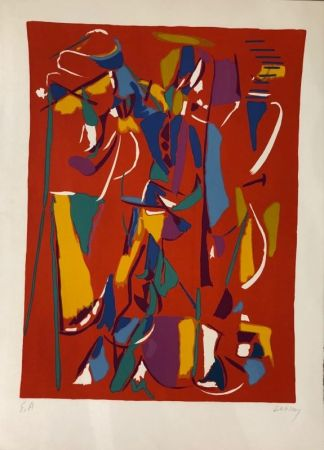 Lithographie Lanskoy - Composition fond rouge