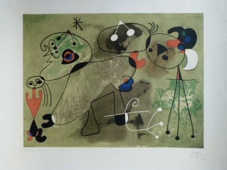 Lithographie Miró - Composition fond vert