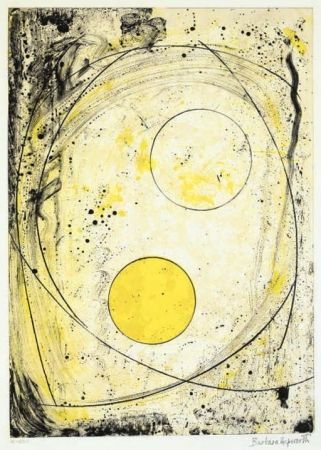 Lithographie Hepworth - Composition in black and Yellow