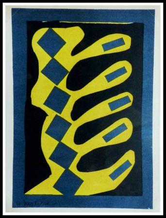 Lithographie Matisse - COMPOSITION  JAUNE BLEU ET NOIR