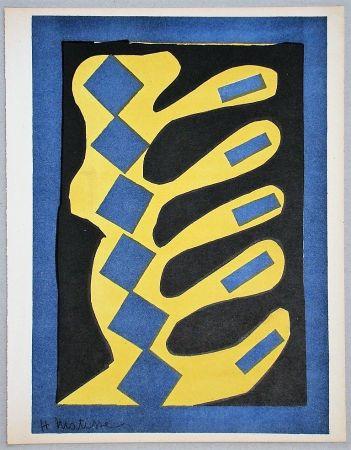 Lithographie Matisse - Composition Jaune, Bleu Et Noire, 1947