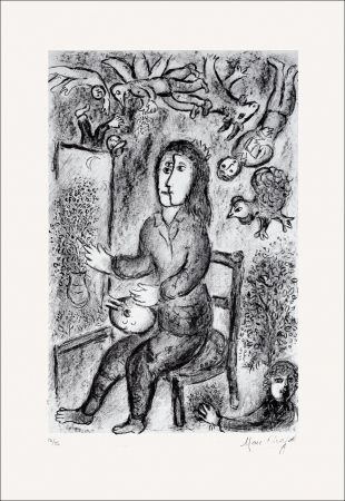 Lithographie Chagall - Composition Noire