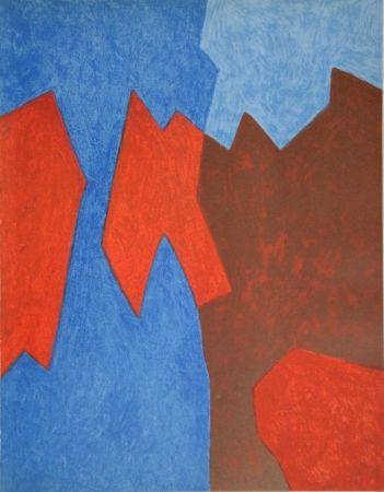 Lithographie Poliakoff - Composition rouge et bleue