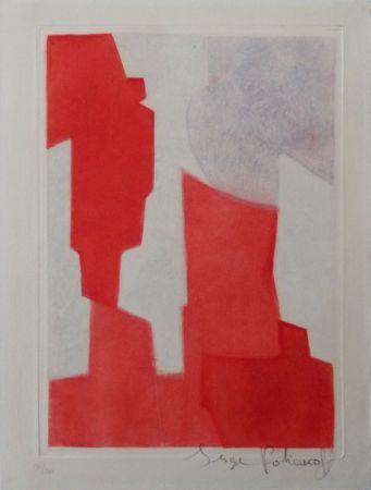 Radierung Und Aquatinta Poliakoff - Composition rouge et bleue n°XX