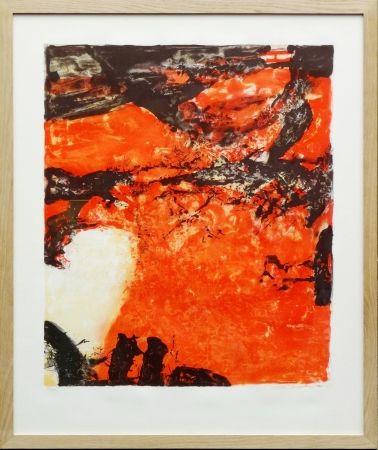 Lithographie Zao - Composition Rouge Et Noir