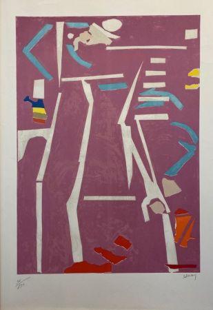 Lithographie Lanskoy - Composition sur fond rose