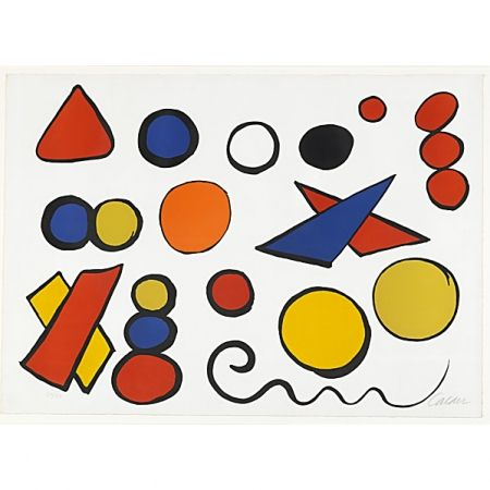 Lithographie Calder - Composition with Circles, Triangles and other Shapes