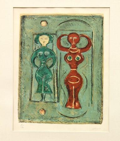 Lithographie Campigli - Composizione con due figure