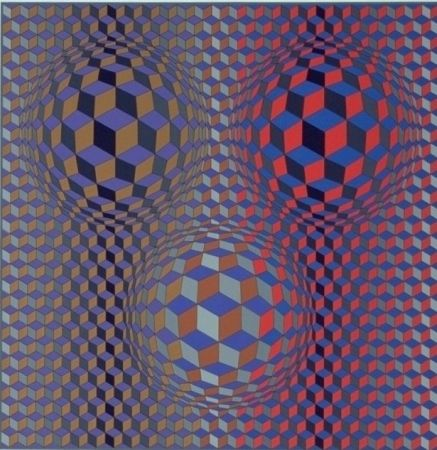 Lithographie Vasarely - Conjonction