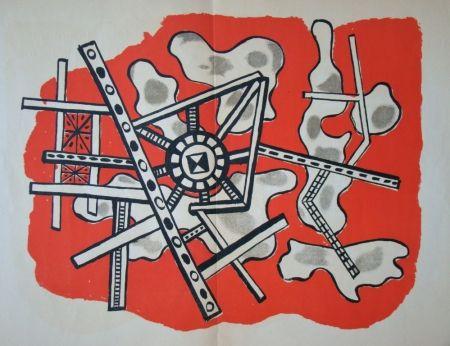 Lithographie Leger - Construction sur fond rouge