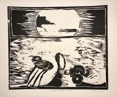 Holzschnitt Alechinsky - Coucher de soleil « Au fil du bois »