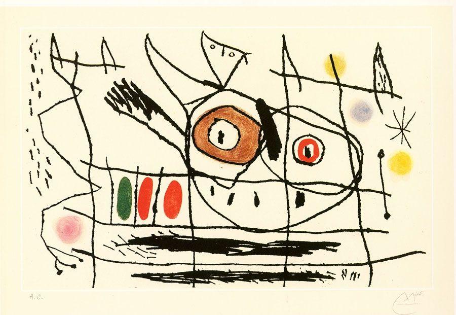 Radierung Und Aquatinta Miró - Couple d'oiseaux