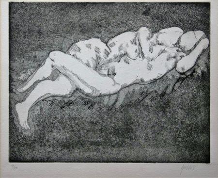 Lithographie Olovson - Couple Enlacé