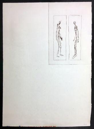 Radierung Giacometti - Couple face à face (Iliazd: Poésie de Mots Inconnus. 1949)