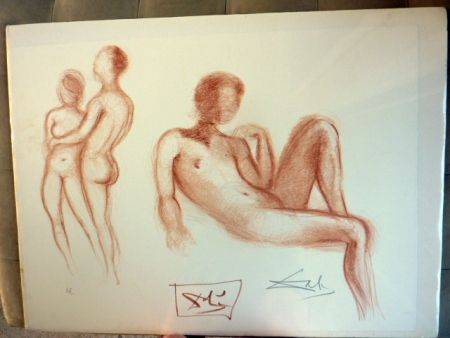 Lithographie Dali - Couple Nus