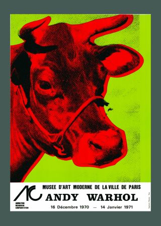 Lithographie Warhol - 'Cow Wallpaper (Green)' Hand Signed Exhibition Poster