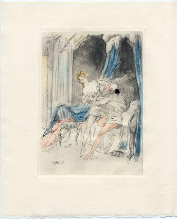 Illustriertes Buch Icart - Crébillon : LA NUIT ET LE MOMENT. 25 eaux-fortes de Louis Icart (1946).